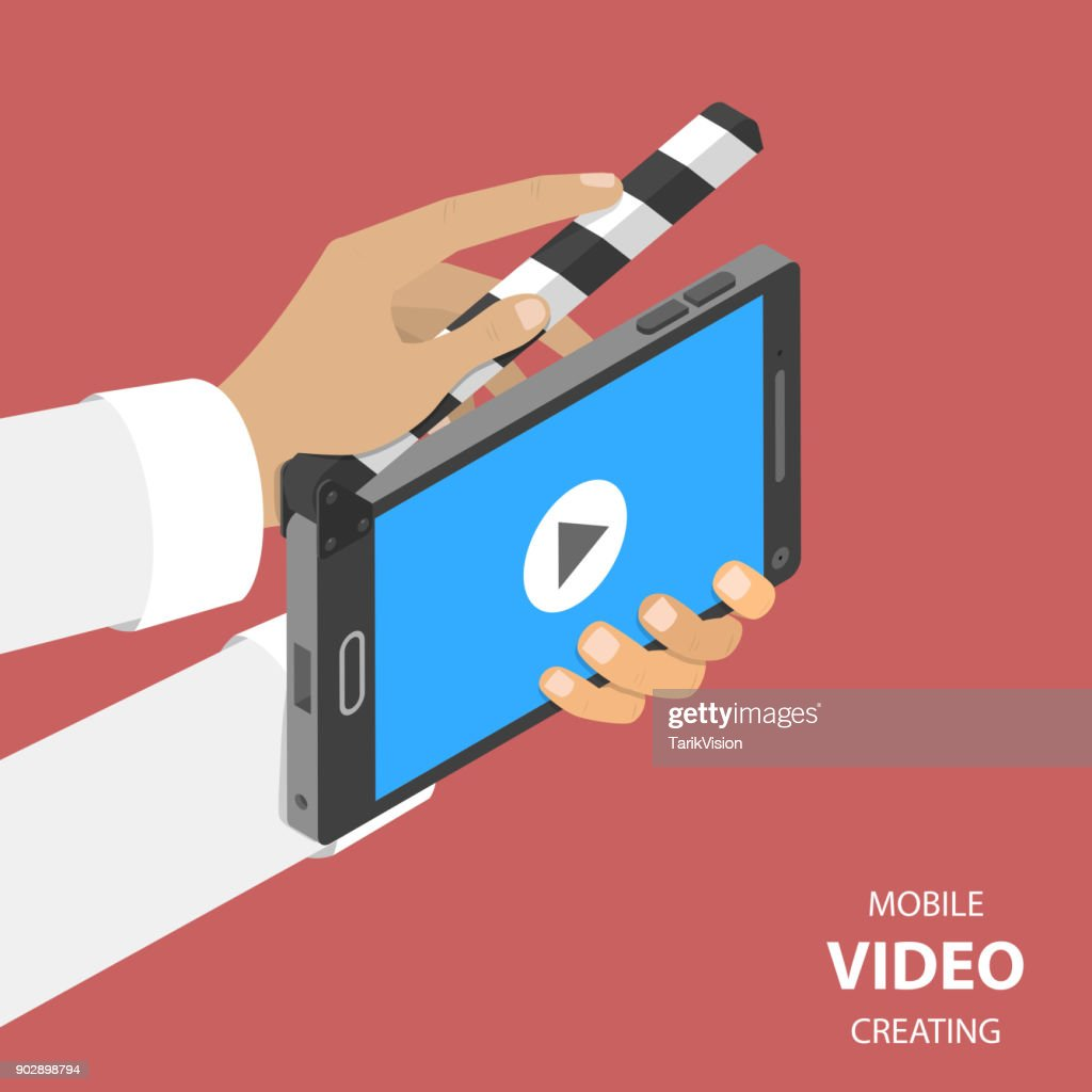 Mobile video creating flat isometric vector.