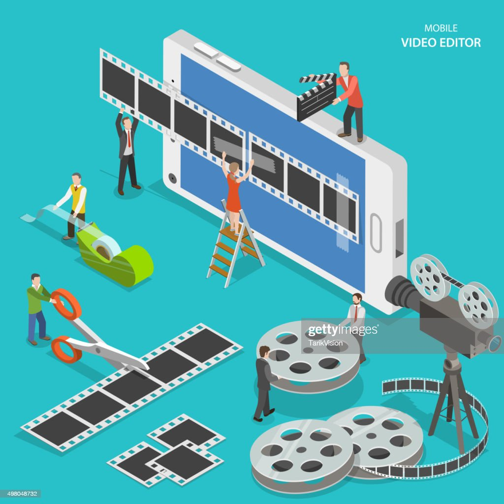 Mobile video editor flat isometric vector concept.