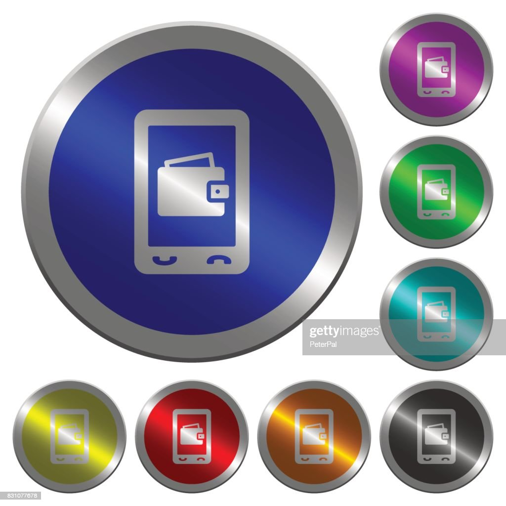 Mobile wallet luminous coin-like round color buttons