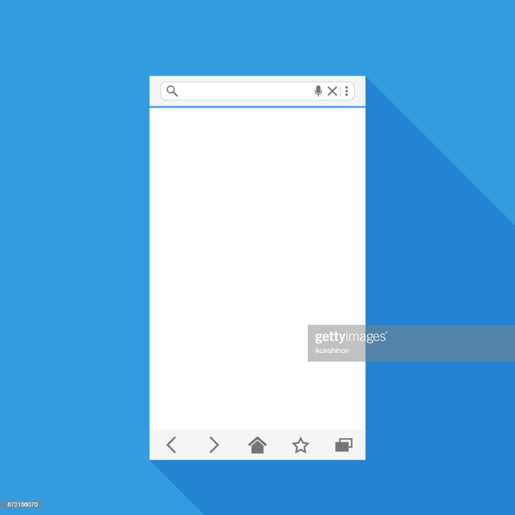 Mobile web browser view form for web application. Blank template with long shadow