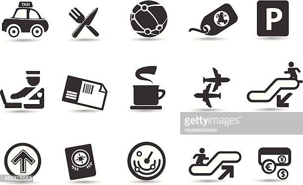 mobilicious airport and travel icons - parking sign stock illustrations