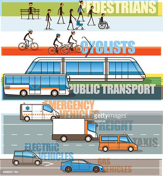 mobility priorities infographic - public transportation stock illustrations