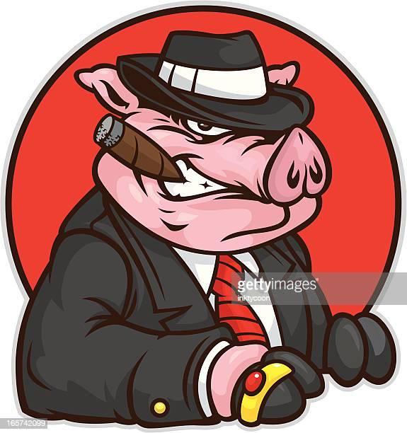 mobster pig - gangster stock illustrations