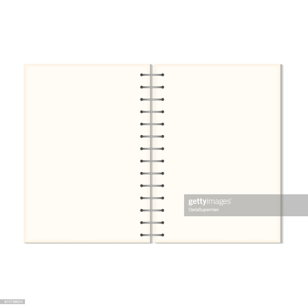 Mock up blank open notebook isolated on white background.