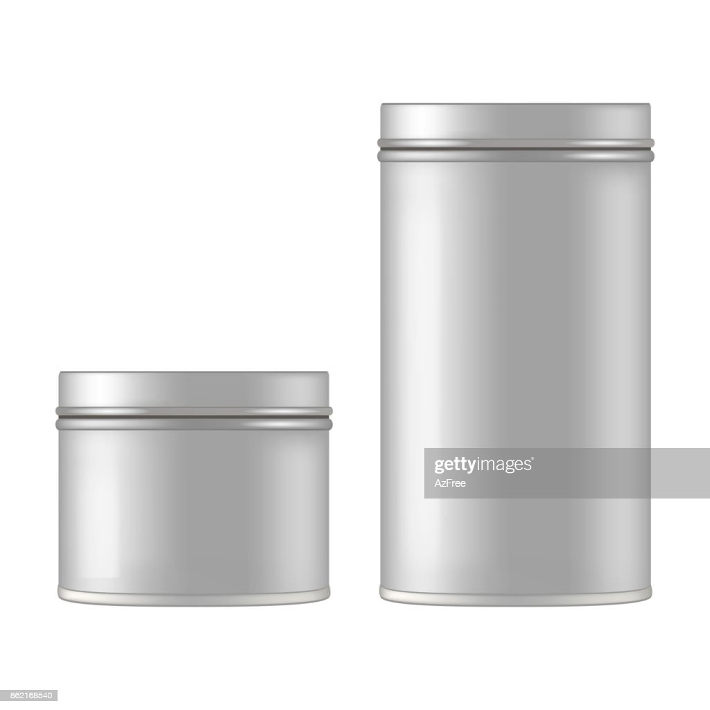 Mock up of round metal tin can for gift. Vector isolated on white background