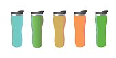 Mock up of thermos cups. Mugs of different colors for hot coffee, tea and water. Isolated vector illustration on white background