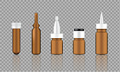 Mock up Realistic Amber Cosmetic Serum, Ampoule, Oil Dropper Bottles Set for Skincare Product Background Illustration