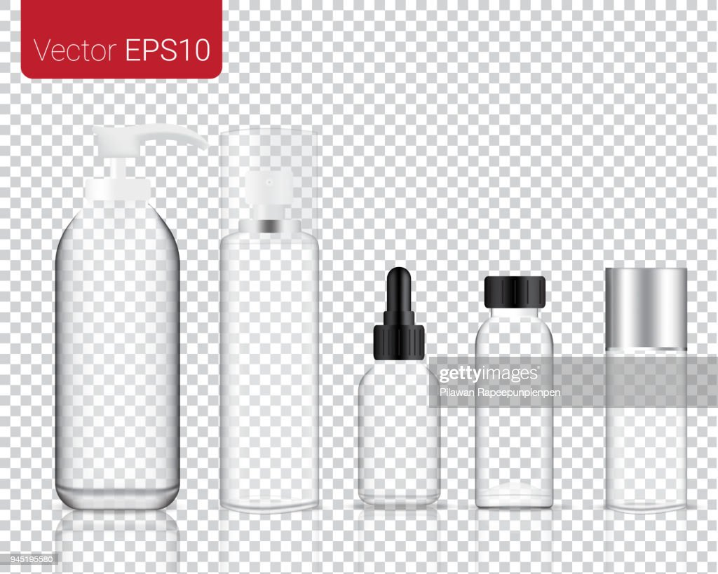 Mock up Realistic Glass Make up and Cosmetic Bottle isolated on a transparent background Set Background.