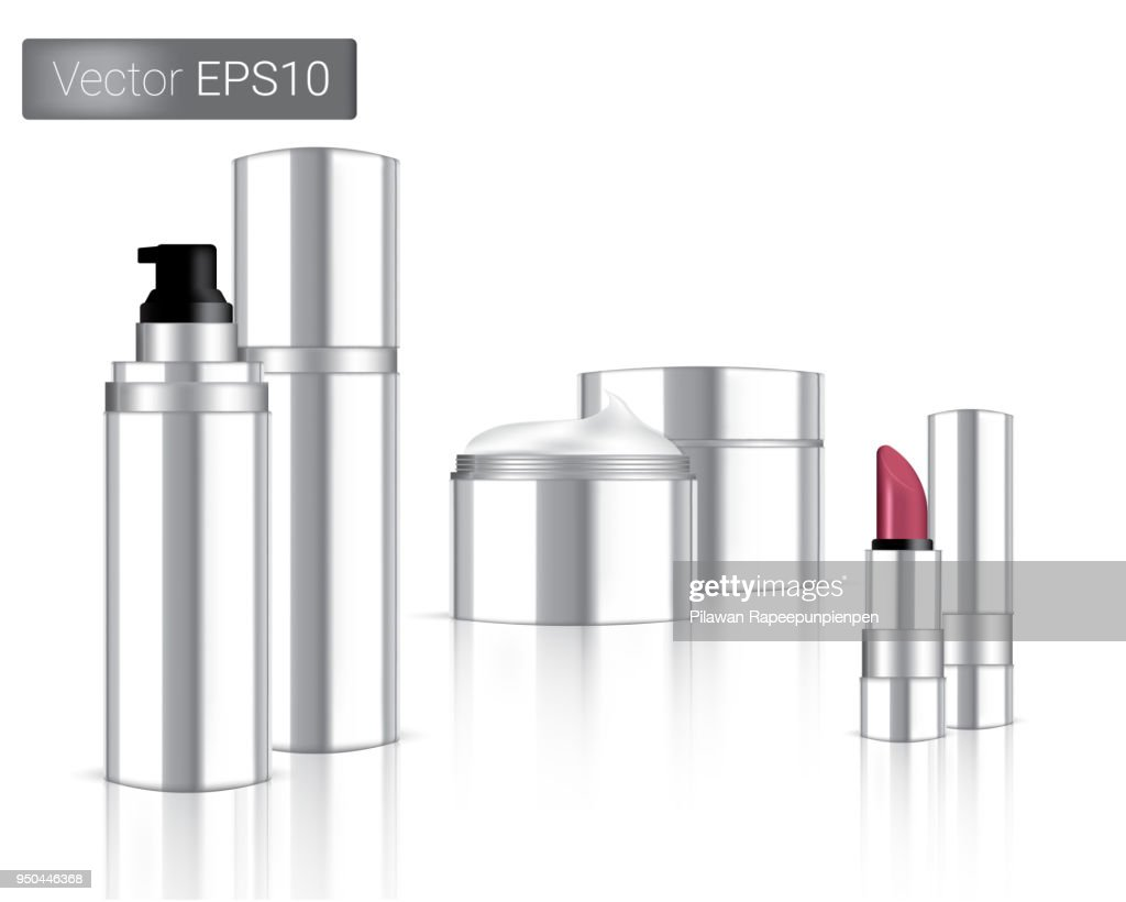 Mock up Realistic Metallic Cosmetic Bottle, Cream Packaging And Lipstick isolated Set On White Background.