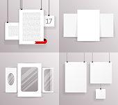 Mock Up Set Frames Boxes Paper Big Little Realistic Text