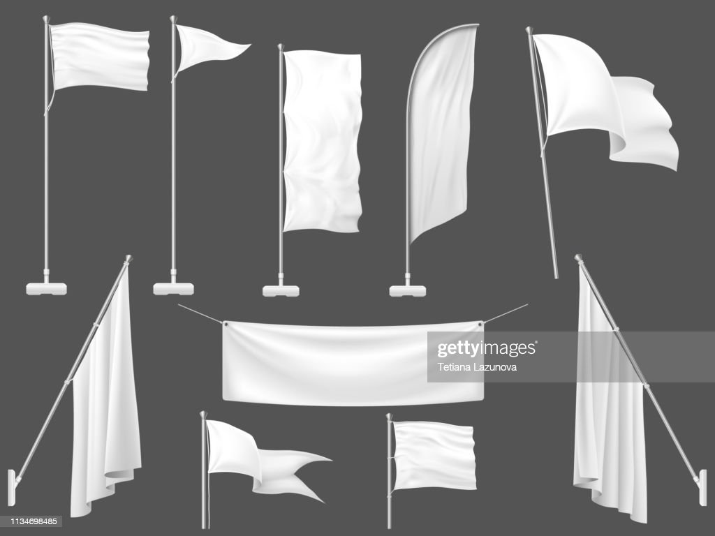 Mockup flag. White flags, blank canvas banner and fabric flag on flagpole 3d template vector illustration