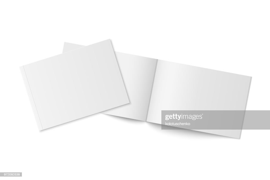 Mockup of two thin books with soft cover isolated.