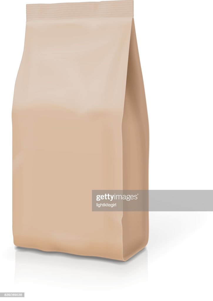 Mock-up pack for coffee, tea, snack bag package. Blank template