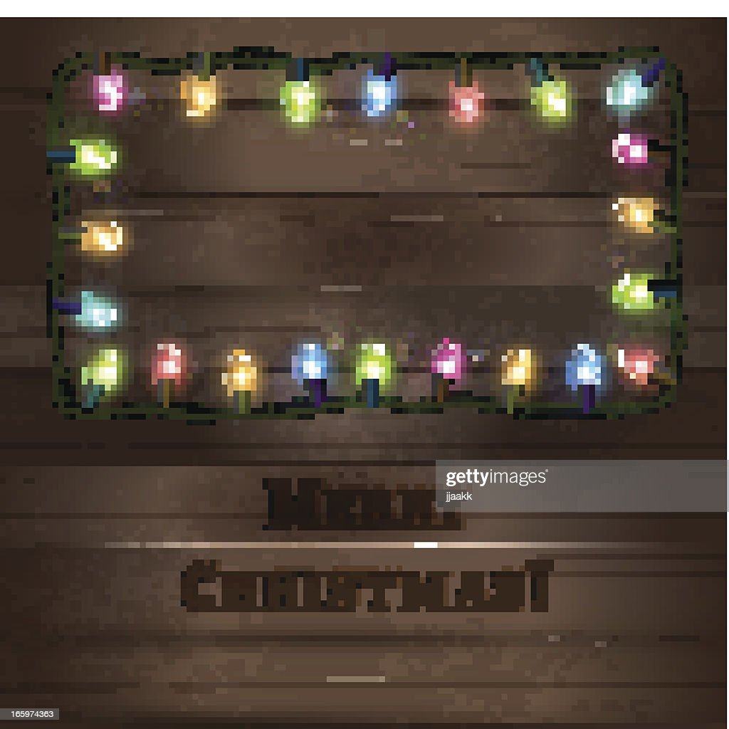 Mockup Template Of Wooden Board With Christmas Lights Vector Art