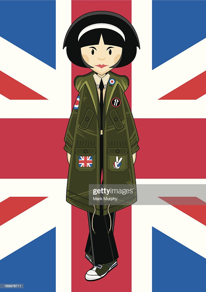 Mod Girl in Park with Union Jack