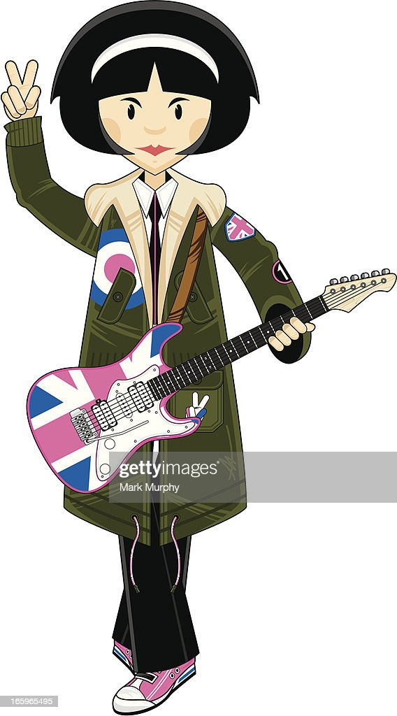 Mod Girl in Parka with Union Jack Guitar