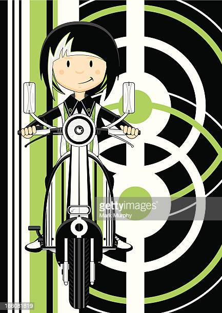 Mod Girl on Retro Striped Scooter