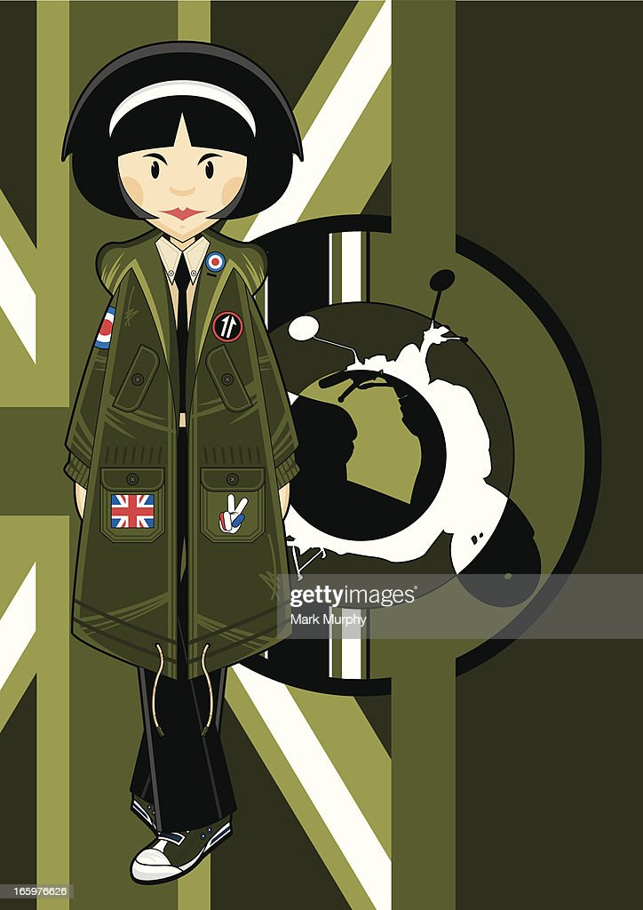 Mod Girl on Scooter & Flag Background