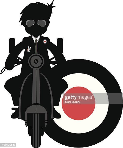 mod & scooter silhouette - moped stock illustrations, clip art, cartoons, & icons
