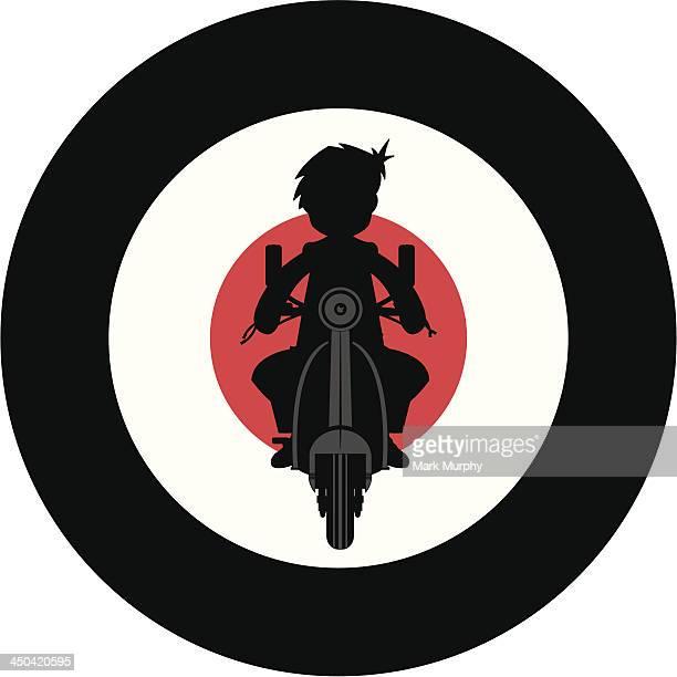 stockillustraties, clipart, cartoons en iconen met mod & scooter silhouette - moped