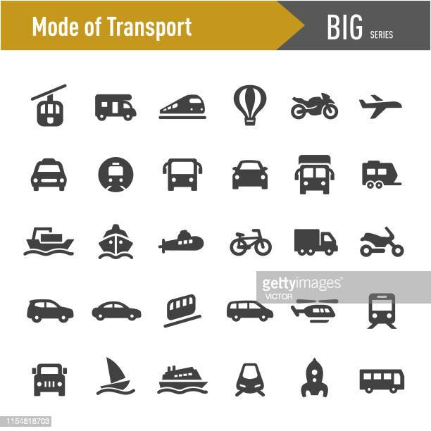 mode of transport icons - big series - public transportation stock illustrations