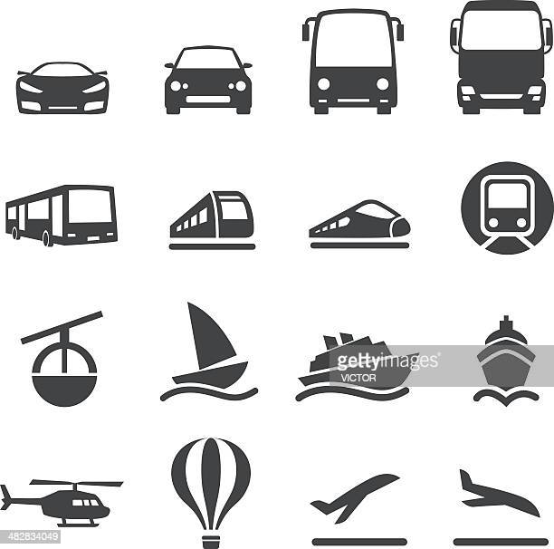 mode of transport icons set 2-acme series - train vehicle stock illustrations