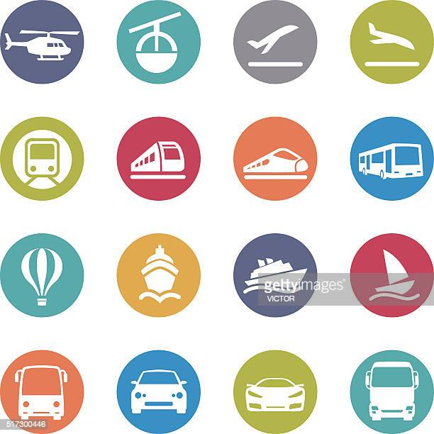 mode of transport icons set - circle series - train vehicle stock illustrations