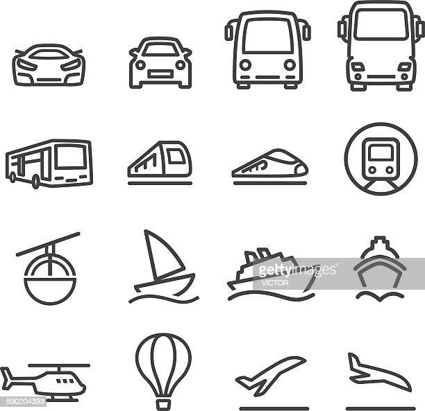 mode of transport icons set - line series - public transportation stock illustrations