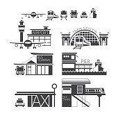 Mode of Transport Illustration Icons Objects Monochrome
