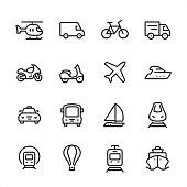 Mode of Transport - outline icon set