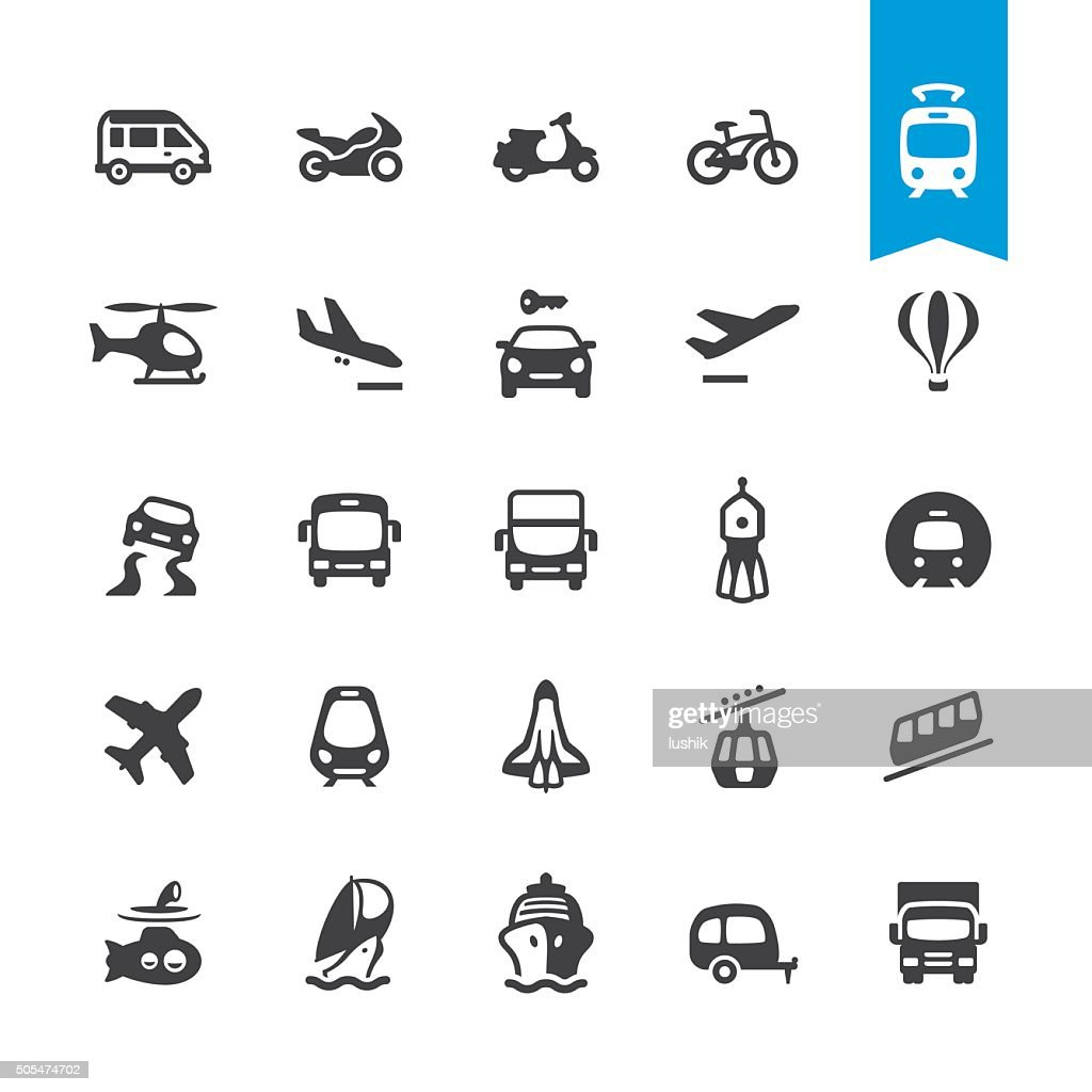 Mode of Transport related vector icons : stock illustration