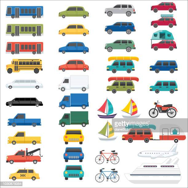 mode of transportation set - car stock illustrations, clip art, cartoons, & icons