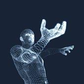 3D Model of Man. Human Body. Design Element.