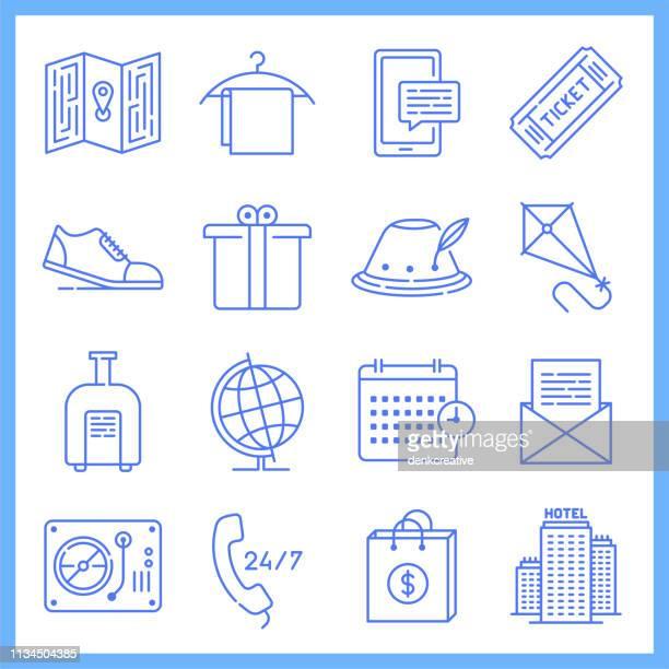 modeling & forecasting tourism blueprint style vector icon set - freedom stock illustrations