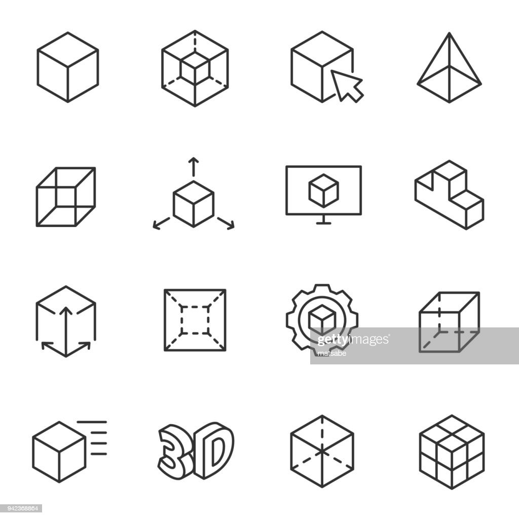 3D modeling icon set, 3-dimensional model Line with Editable stroke