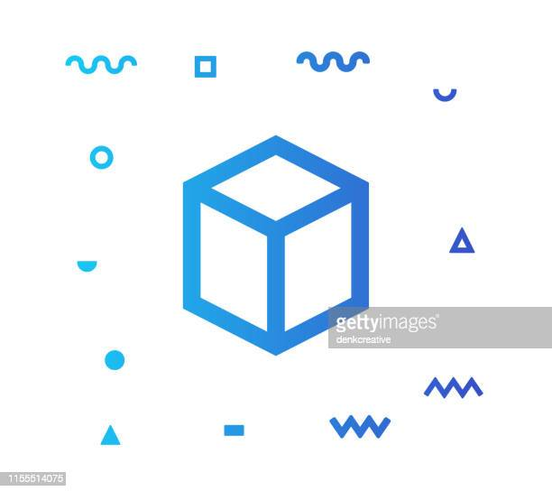 3d modeling line style icon design - wire frame model stock illustrations