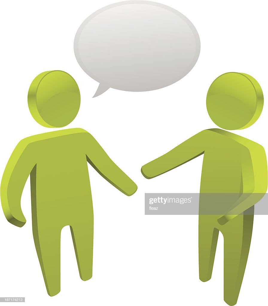 3D models of two green people talking with a speech bubble