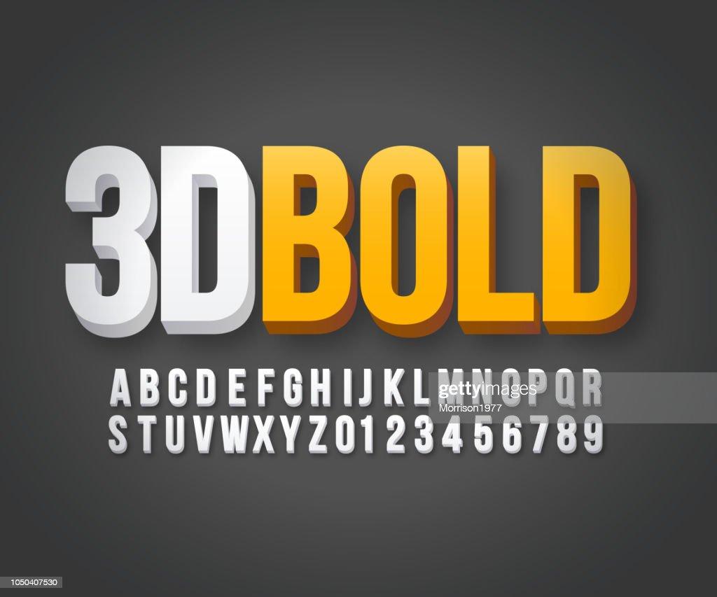 Modern 3d bold font vector