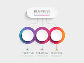 Modern 3D Infographic Template with 3 steps for success