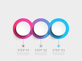 Modern 3D infographic template with 3 steps