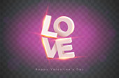 Modern 3d letters with incandescent lamps. The word love. Valentine's Day. EPS 10