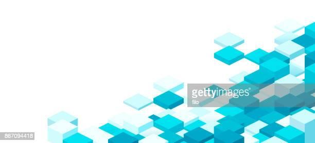 modern 3d pixel background - teal stock illustrations