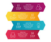 Modern 3D vector illustration. Infographic template with four arrows, text. Step by step. Designed for business, presentations, web design, diagrams, education with 4 steps