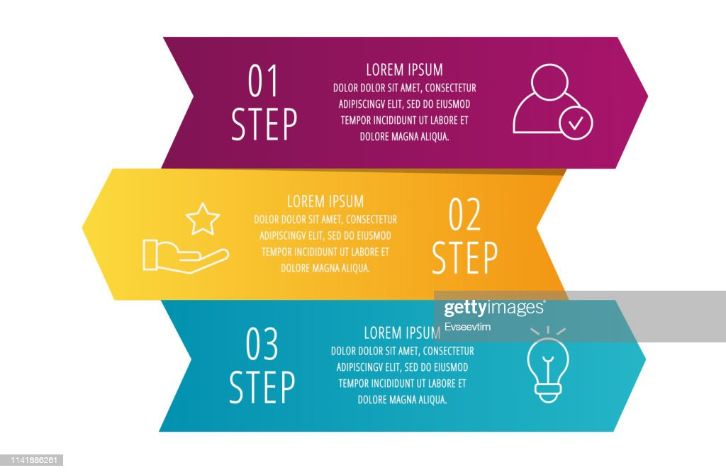 Modern 3D vector illustration. Infographic template with three arrows, text. Step by step. Designed for business, presentations, web design, diagrams, education with 3 steps