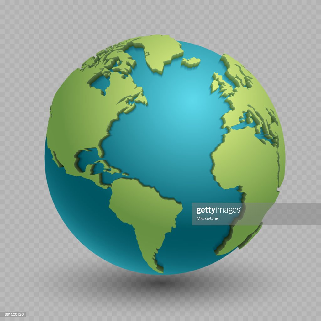 Modern 3d world map concept isolated on transparent background