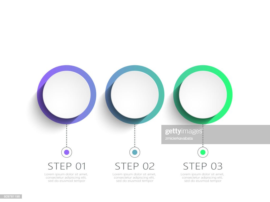 Modern abstract 3D infographic template with 3 steps