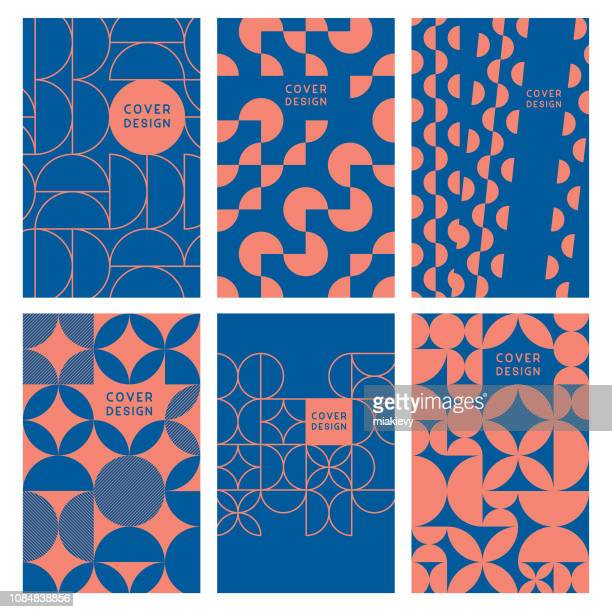 modern abstract geometric cover templates - retro style stock illustrations