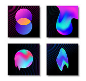 Modern abstract liquid gradient effect card set