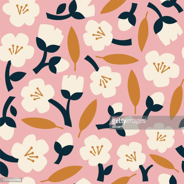 modern abstract natural floral seamless pattern. scandinavian cutout style. contemporary aesthetic art for fabric or wrapping paper, wall art, social media post, packaging. - floral pattern stock illustrations
