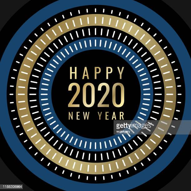modern abstract new year's card 2020 with fireworks - radial symmetry stock illustrations
